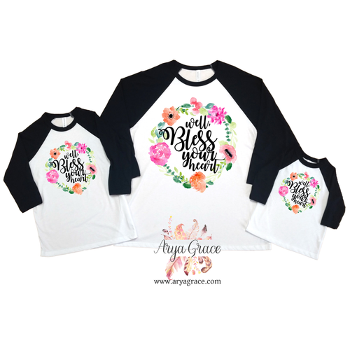 Well Bless Your Heart Floral Wreath Graphic Tee {Infant/Toddler/Youth Sizing}