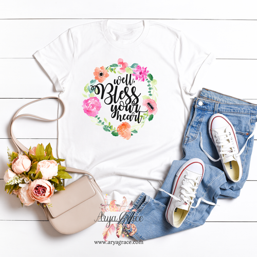 Well Bless Your Heart Wreath Graphic Tee {Unisex Adult Sizing}