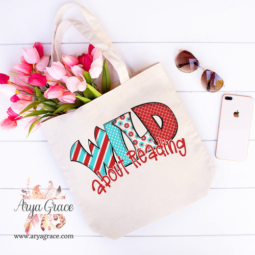 Wild About Reading Canvas Tote