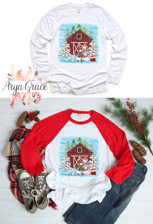 Winter Red Barn Graphic Tee