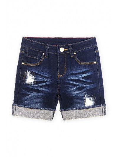 Dark Distressed Denim Shorts