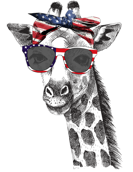 Patriotic Giraffe Graphic Tee