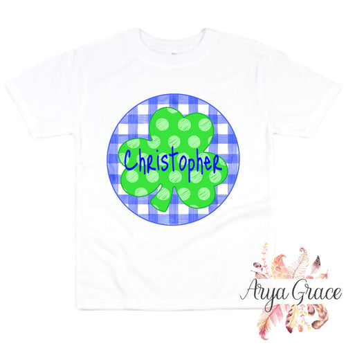 Polka Dot Clover {Blue Gingham Background} Graphic Tee {Infant/Toddler Youth}