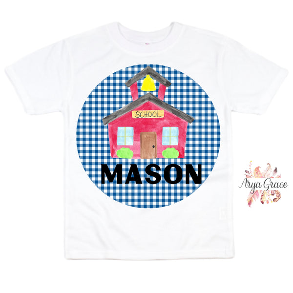 Schoolhouse Blue Gingham Graphic Tee