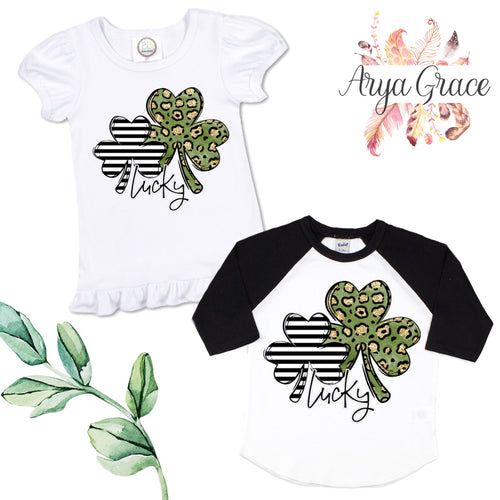 Lucky Leopard Clover Graphic Tee {Infant/Toddler Youth}
