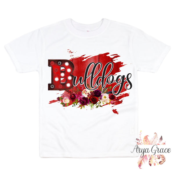 Floral Bulldogs Graphic Tee {Infant/Toddler/Youth}