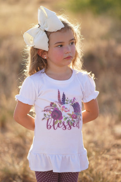 Boho Blooms BLESSED Graphic Tee