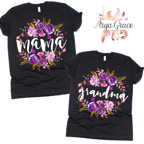 Violet Floral Black Graphic Tee {Adult Sizing}
