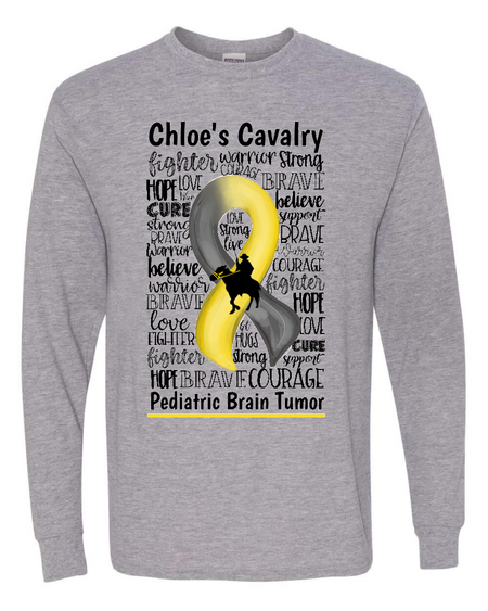 Chloe's Cavalry Toddler/Youth Gray Long Sleeve T-Shirt