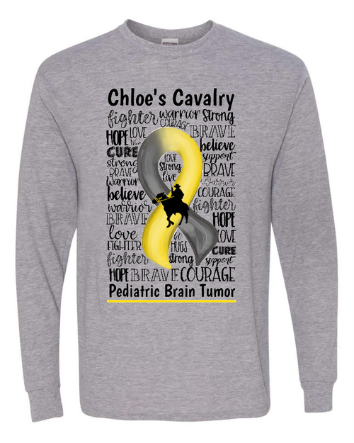 Chloe's Cavalry Adult Gray Long Sleeve T-Shirt