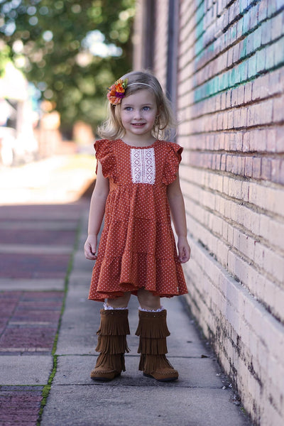 Pumpkin Dot Isabella Dress