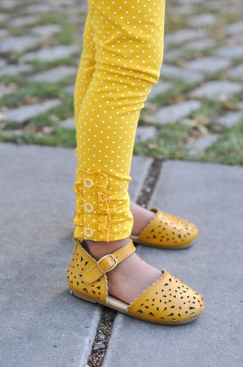 Mustard White Polka Dot Button Leggings