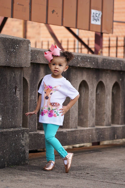 Floral Fawn White Basic Short Sleeve {Infant/Toddler}