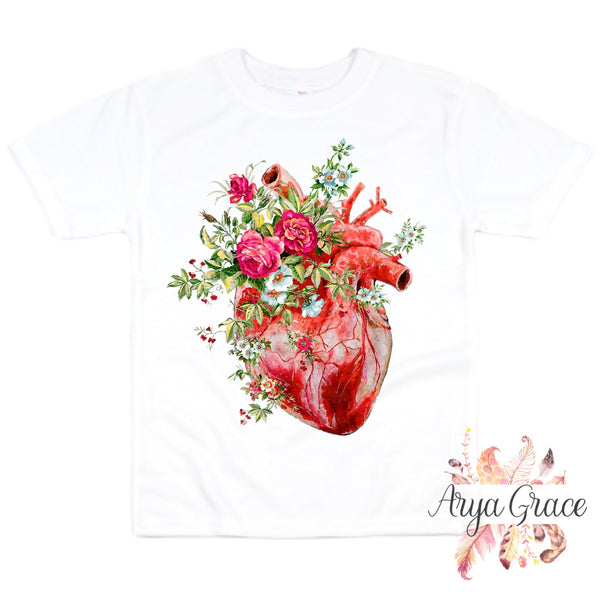 Rose Floral Anatomical Heart Graphic Tee {Infant/Toddler Youth}