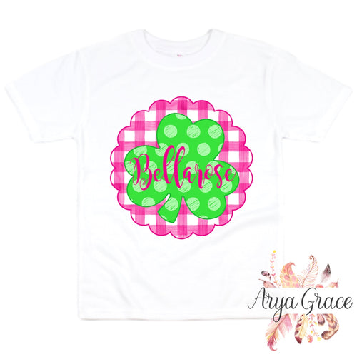 Polka Dot Clover {Pink Gingham Background} Graphic Tee {Infant/Toddler Youth}