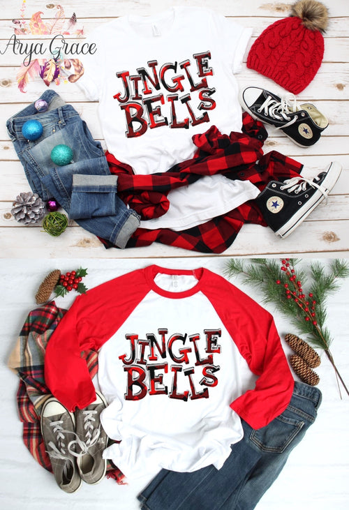 Buffalo Plaid Jingle Bells Graphic Tee