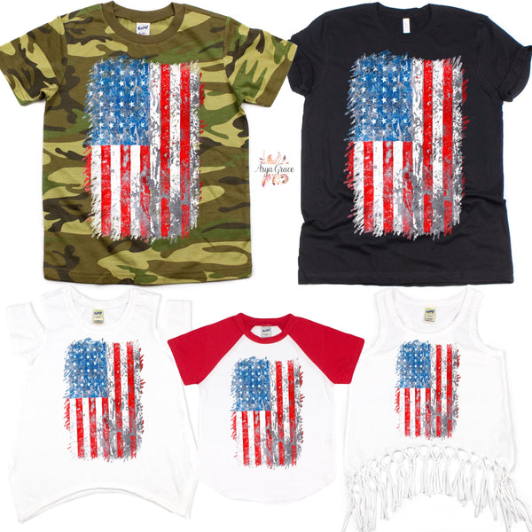 Distressed American Flag Graphic Tee {Infant/Toddler/Youth}