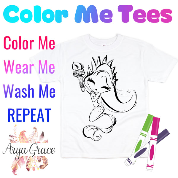 Mermaid Liberty Color Me💙Graphic Tee {Toddler/Youth Sizing}