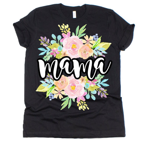 Pastel Floral Black Graphic Tee {Adult Sizing}
