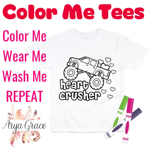 Heart Crusher Color Me💙Graphic Tee {Toddler/Youth Sizing}