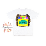 Crayon Box Leopard Background Graphic Tee