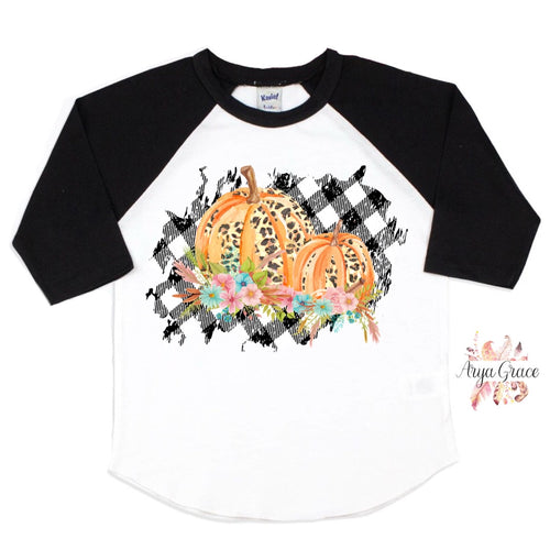 White/Black Raglan Fall/Halloween Graphic Tee {Choose Your Design}