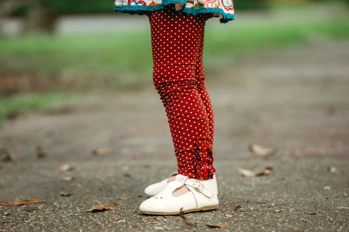 Garnet w. White Polka Dot Button Leggings
