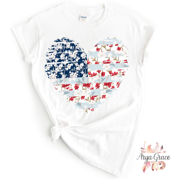 American Flag Floral Heart Graphic Tee {Adult}