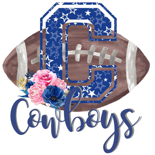Cowboys Floral Football Graphic Tee