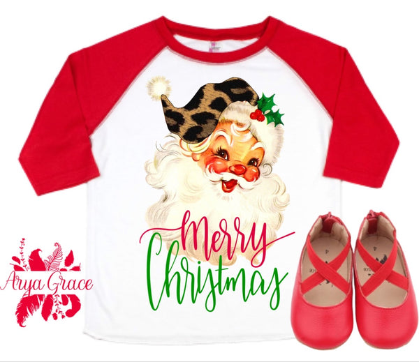 Vintage Santa Red Raglan Graphic Tee