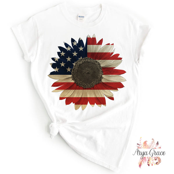 American Flag Sunflower Graphic Tee {Adult}