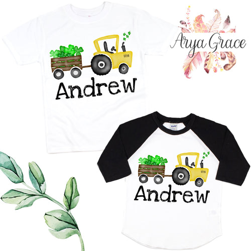 Yellow Tractor Clovers Graphic Tee {Infant/Toddler Youth}