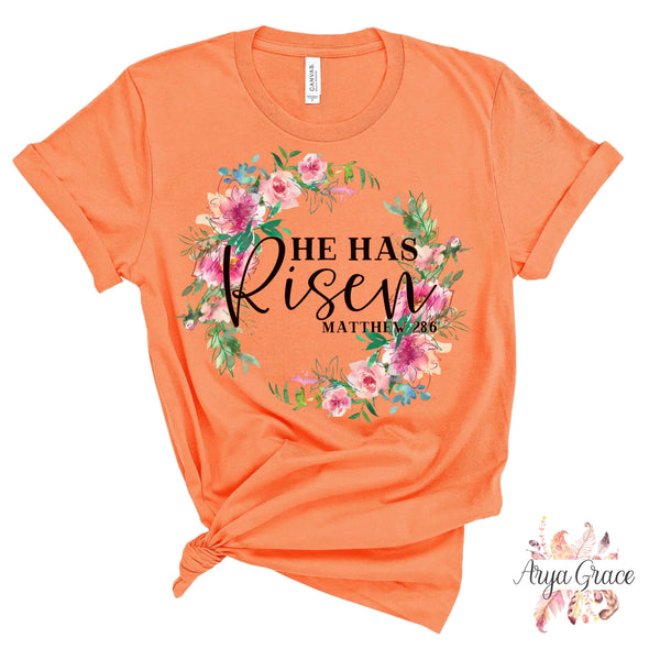 He Has Risen Wreath Graphic Tee