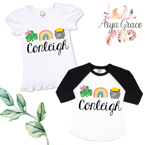 Clover(with bow)-Rainbow-Pot of Gold Graphic Tee {Infant/Toddler Youth}