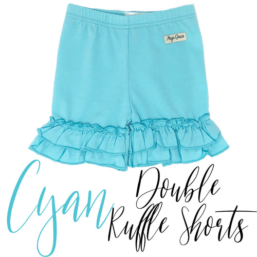 Cyan Double Ruffle Shorties