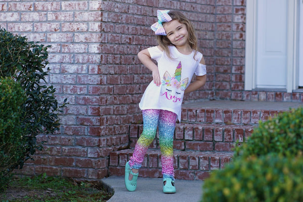 Glitter Rainbow Button Leggings
