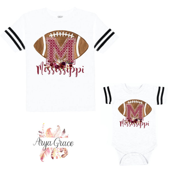 Mississippi Floral Football Style Graphic Tee {Infant/Toddler/Youth}