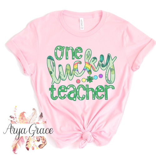 One Lucky Teacher Graphic Tee {Adult Unisex Sizing}