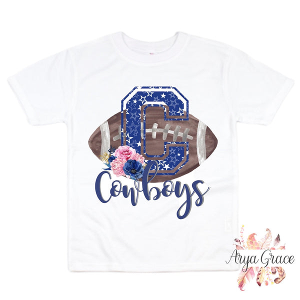 Cowboys Floral Football Graphic Tee {Infant/Toddler/Youth}