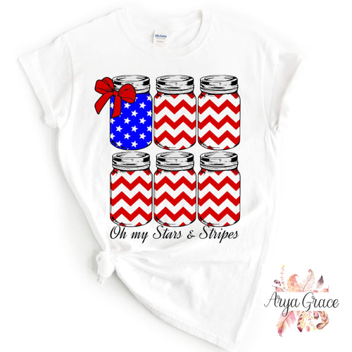 Oh My Stars and Stripes Jars Graphic Tee {Adult}