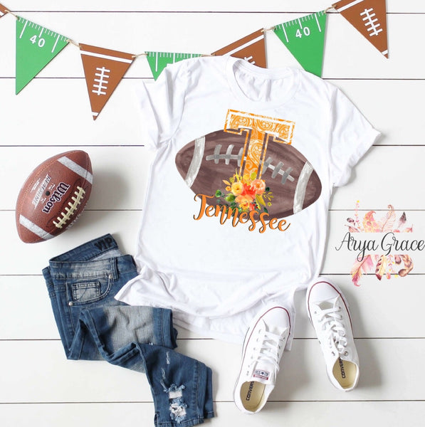 Tennessee Floral Football Graphic Tee {Adult Sizing}