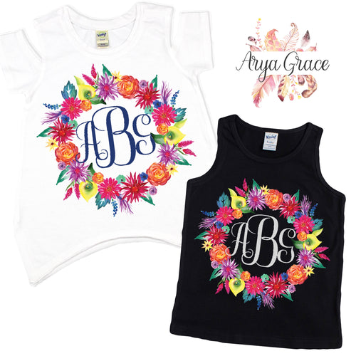 Bright Summer Floral Wreath Graphic Tee {Infant/Toddler/Youth}