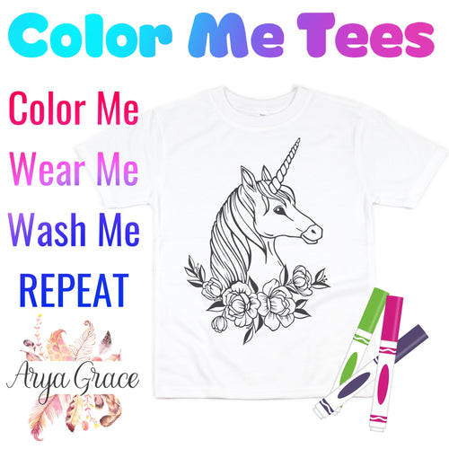 Floral Unicorn Color Me💙Graphic Tee {Toddler/Youth Sizing}