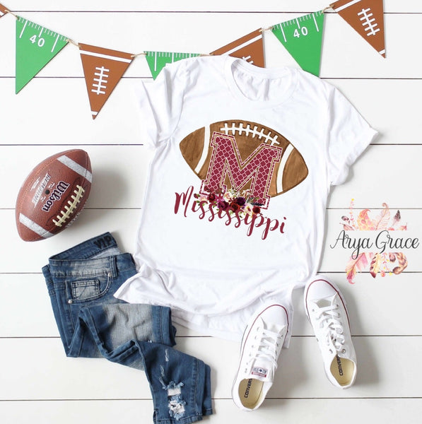 Mississippi Floral Football Graphic Tee {Adult Sizing}