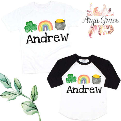 Clover-Rainbow-Pot of Gold Graphic Tee {Infant/Toddler Youth}