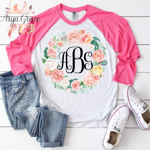 Peach Floral Wreath Graphic Tee {Unisex Adult Sizing}