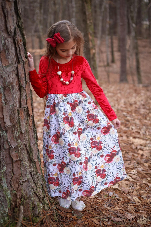 Festive Blooms Long Sleeve Maxi Dress