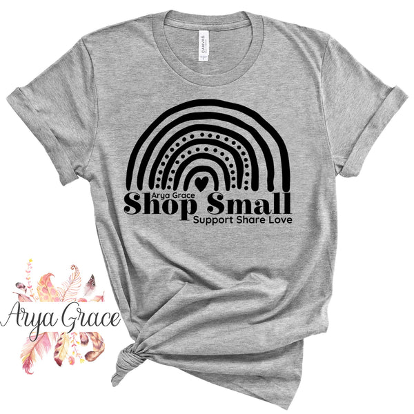 Rainbow Shop Small❤️Support❤️Share❤️Love Graphic Tee {Adult Sizing}