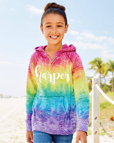 Personalized Rainbow Burnout Hoodie