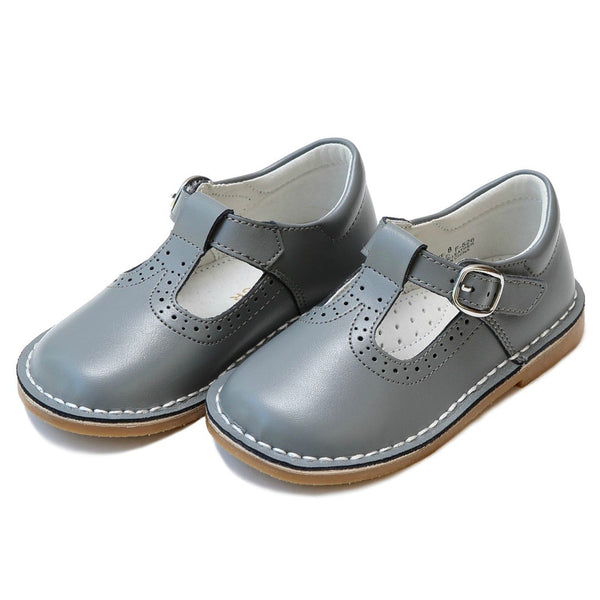 Gray Frances T-Strap Perforated Mary Jane